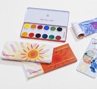 Image for <B>Stockmar Paint Set Opaque </B><I> 12 Colours + Opaque White + Brush + Mixing Palette</I>