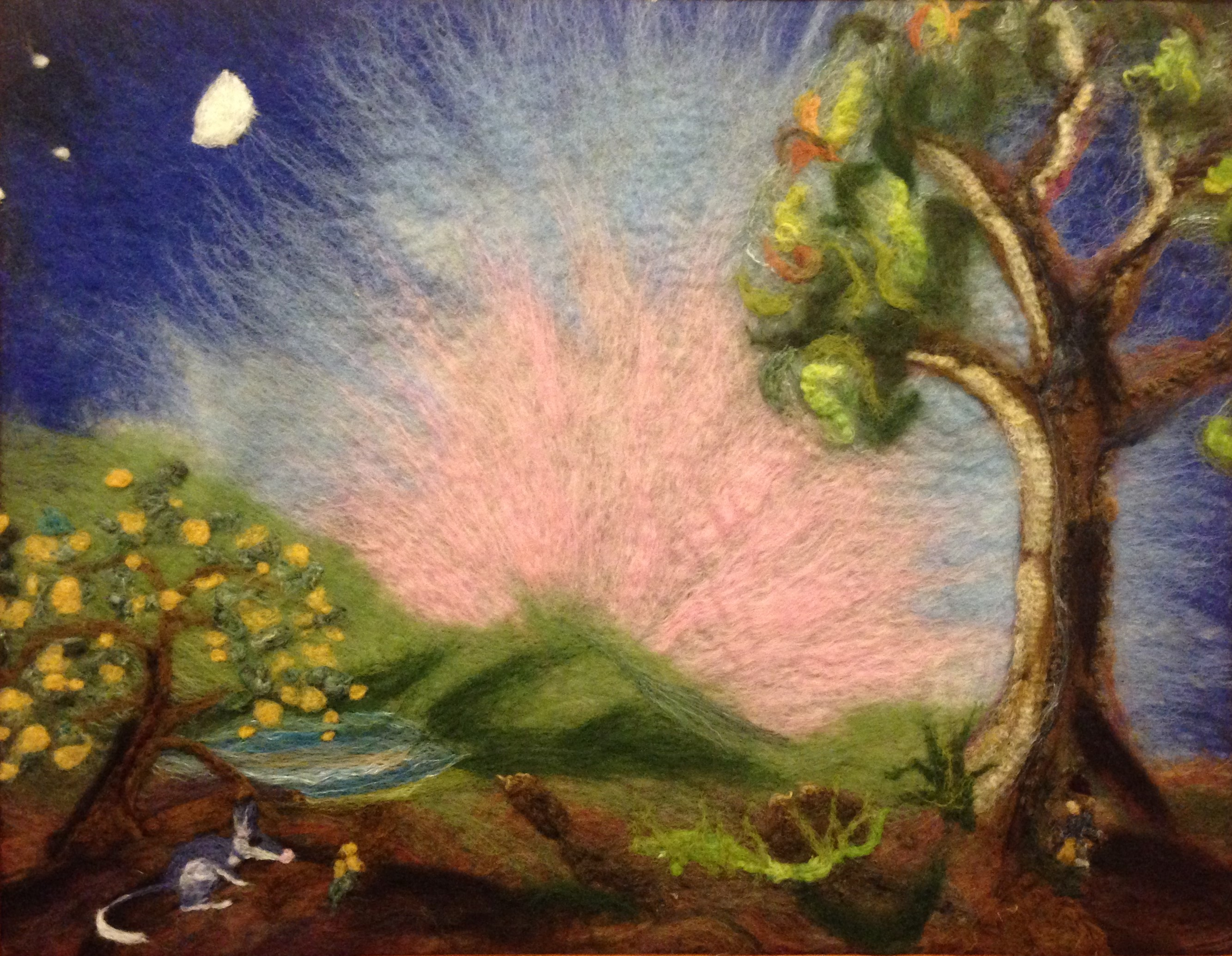 Image for <B>Bilby's secret - felted tapestry in wooden frame </B><I> hand felted artwork</I>