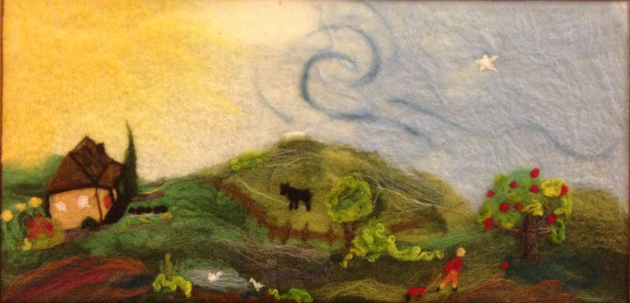 Image for <B>Apple-Picking tapestry </B><I> hand felted artwork</I>