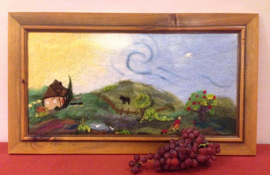 Image for <B>Apple Picking - felted tapestry picture in wooden frame </B><I> </I>