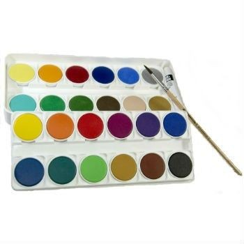 Image for <B>Nerchau Watercolour Set - 24 </B><I> in 2 layers incl paint brush + tube of white paint</I>