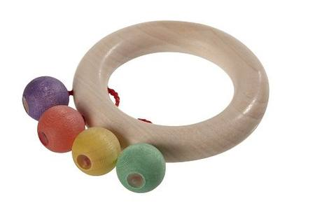 Image for <B>Walter Wooden Teething Ring w 4 Beads plant-based dyes </B><I> </I>