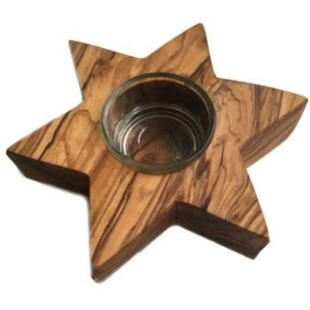 Image for <B>Olive Wood Tealight Candle Holder - Star </B><I> </I>
